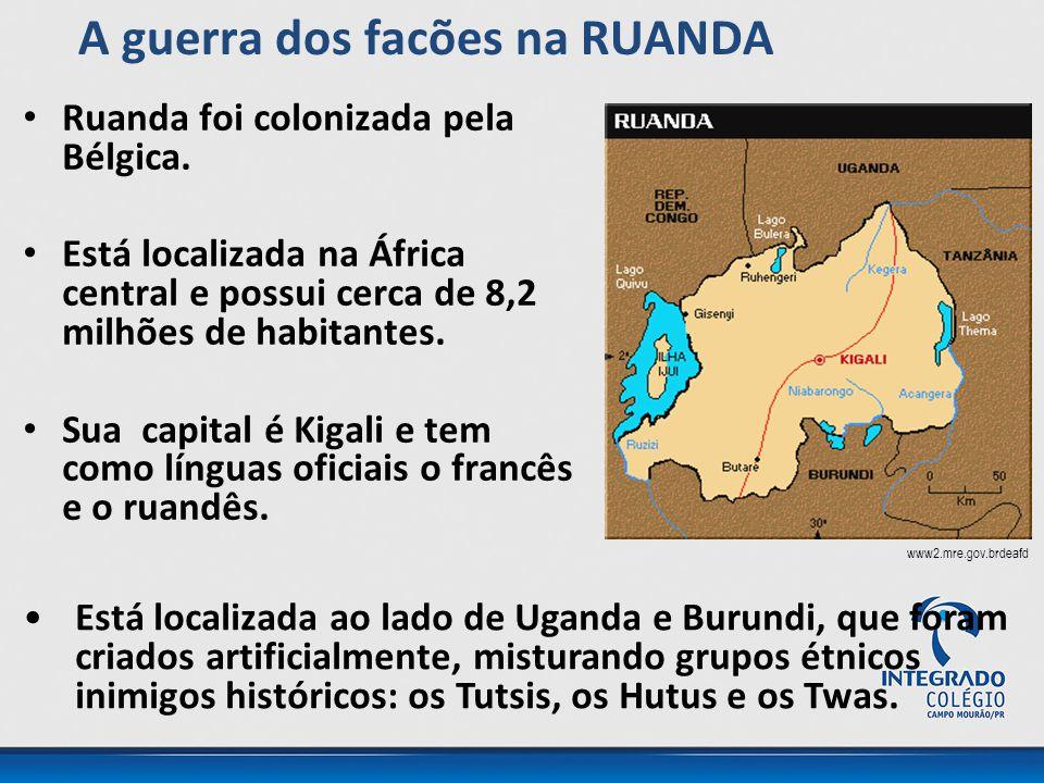 Ruanda foi colonizada pela Bélgica. Está localizada na África central e possui cerca de 8,2 milhões de habitantes. Sua capital é Kigali e tem como lín