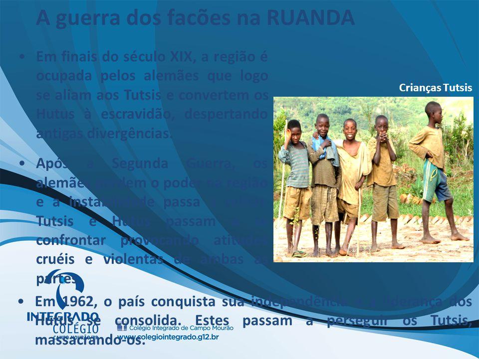 Crianças Tutsis Em finais do século XIX, a região é ocupada pelos alemães que logo se aliam aos Tutsis e convertem os Hutus à escravidão, despertando
