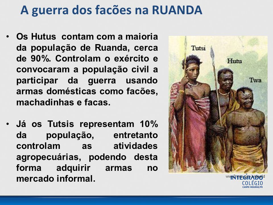 Os Hutus contam com a maioria da população de Ruanda, cerca de 90%. Controlam o exército e convocaram a população civil a participar da guerra usando