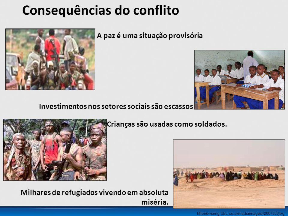 httpnewsimg.bbc.co.ukmediaimages42887000jpg Consequências do conflito A paz é uma situação provisória Investimentos nos setores sociais são escassos Crianças são usadas como soldados.