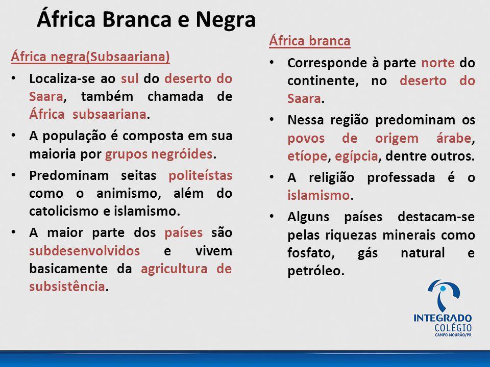 África Branca e Negra África negra(Subsaariana) Localiza-se ao sul do deserto do Saara, também chamada de África subsaariana.