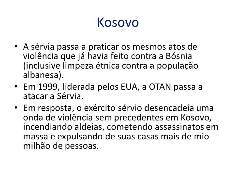 Kosovo A sérvia passa a praticar os mesmos atos de violência que já havia feito contra a Bósnia (inclusive limpeza étnica contra a população albanesa).