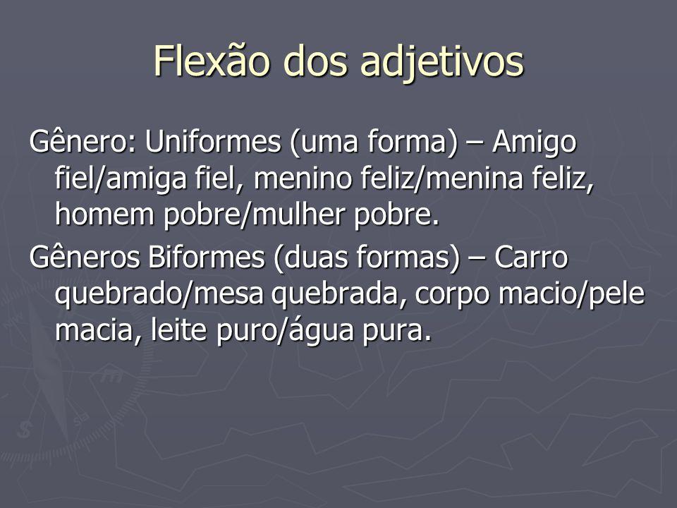 Flexão dos adjetivos Gênero: Uniformes (uma forma) – Amigo fiel/amiga fiel, menino feliz/menina feliz, homem pobre/mulher pobre. Gêneros Biformes (dua