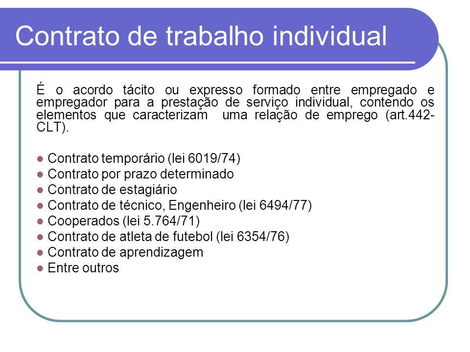 Contrato de trabalho individual É o acordo tácito ou expresso formado entre empregado e empregador para a prestação de serviço individual, contendo os