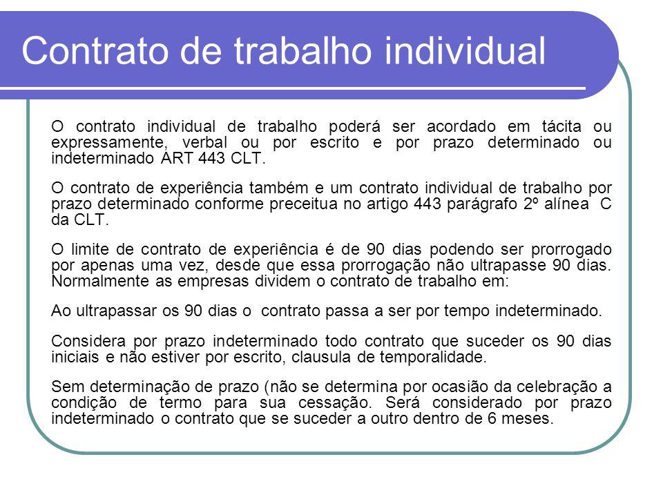 Contrato de trabalho individual O contrato individual de trabalho poderá ser acordado em tácita ou expressamente, verbal ou por escrito e por prazo de