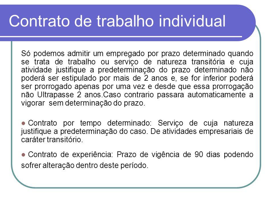 Contrato de trabalho individual Só podemos admitir um empregado por prazo determinado quando se trata de trabalho ou serviço de natureza transitória e