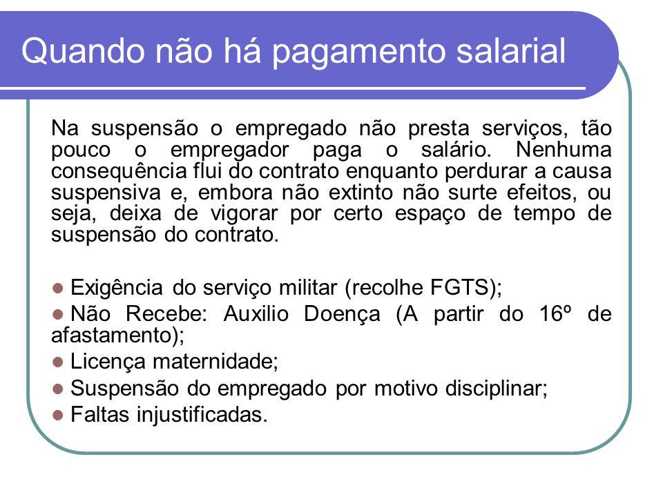 Quando não há pagamento salarial Na suspensão o empregado não presta serviços, tão pouco o empregador paga o salário. Nenhuma consequência flui do con