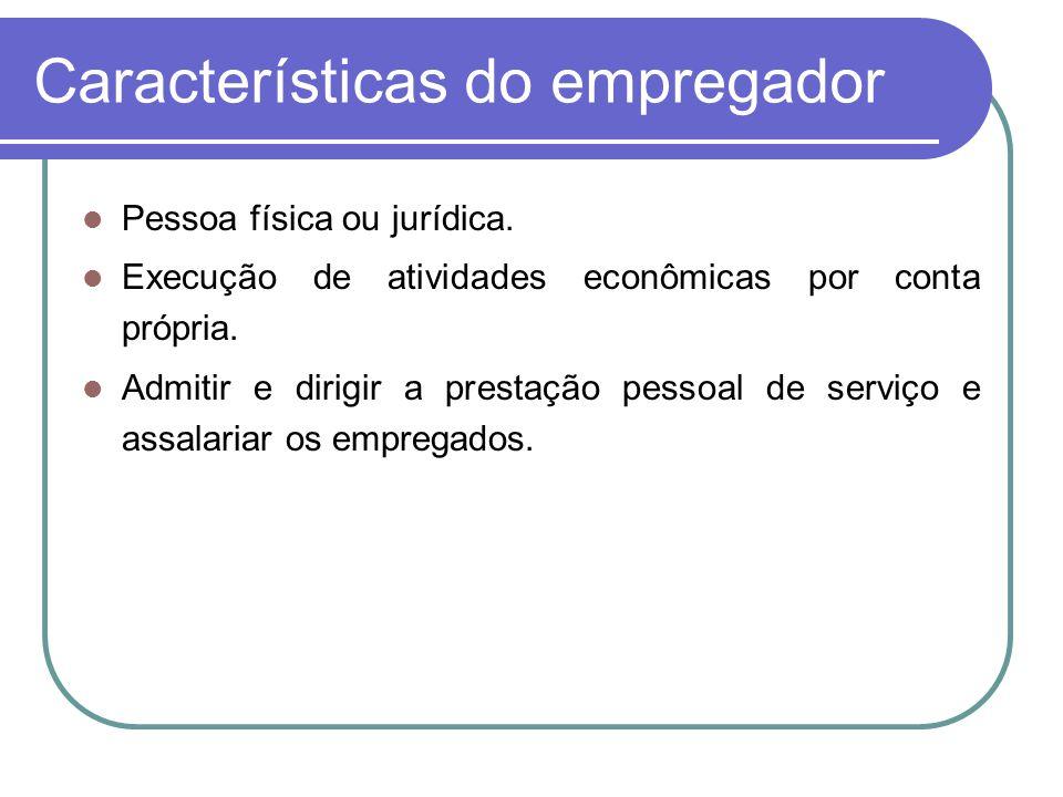 Características do empregador Pessoa física ou jurídica. Execução de atividades econômicas por conta própria. Admitir e dirigir a prestação pessoal de