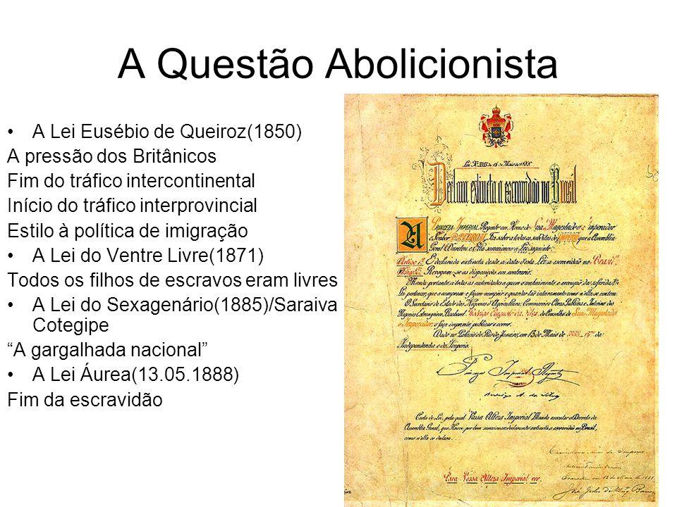 A Questão Abolicionista A Lei Eusébio de Queiroz(1850) A pressão dos Britânicos Fim do tráfico intercontinental Início do tráfico interprovincial Esti