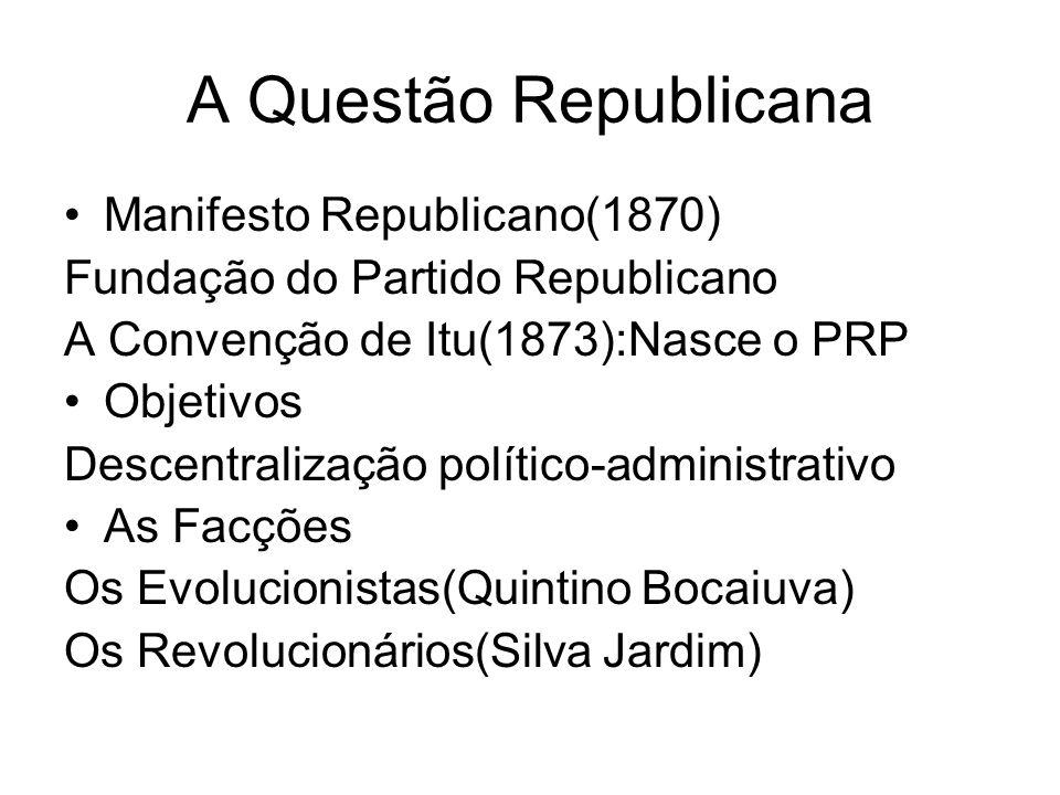 A Questão Republicana Manifesto Republicano(1870) Fundação do Partido Republicano A Convenção de Itu(1873):Nasce o PRP Objetivos Descentralização polí