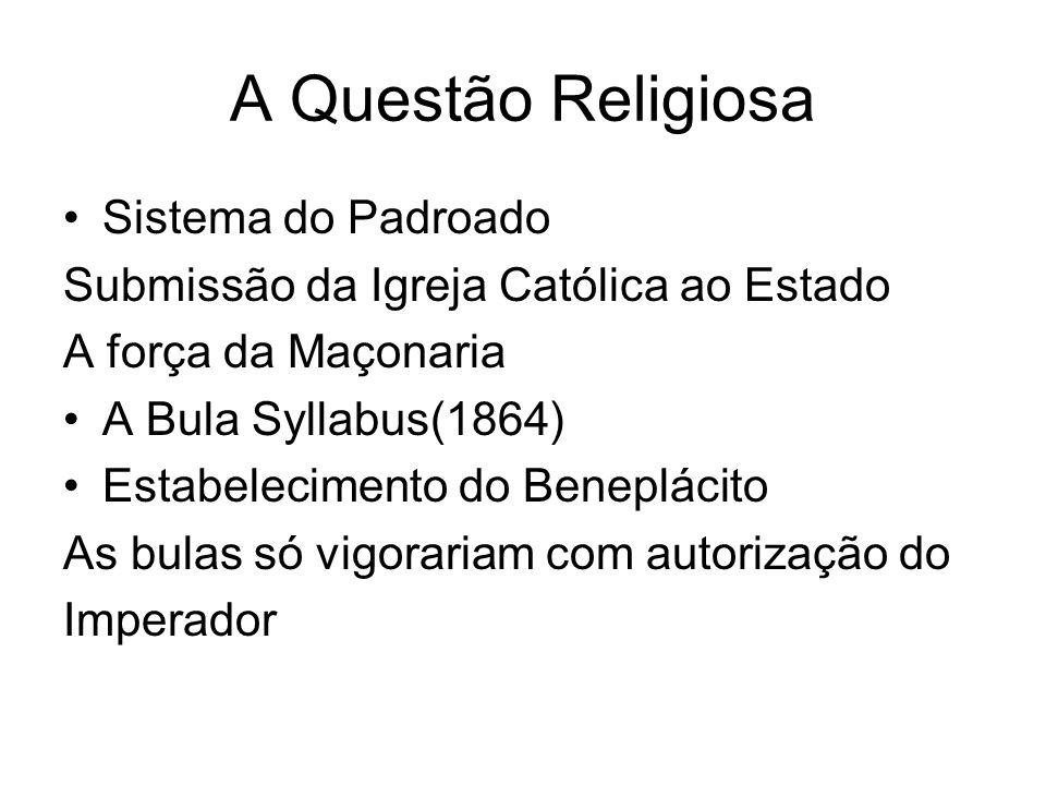 A Questão Religiosa Sistema do Padroado Submissão da Igreja Católica ao Estado A força da Maçonaria A Bula Syllabus(1864) Estabelecimento do Benepláci