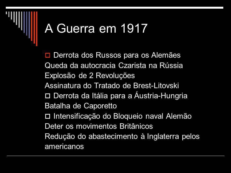 A Guerra em 1917  Derrota dos Russos para os Alemães Queda da autocracia Czarista na Rússia Explosão de 2 Revoluções Assinatura do Tratado de Brest-L