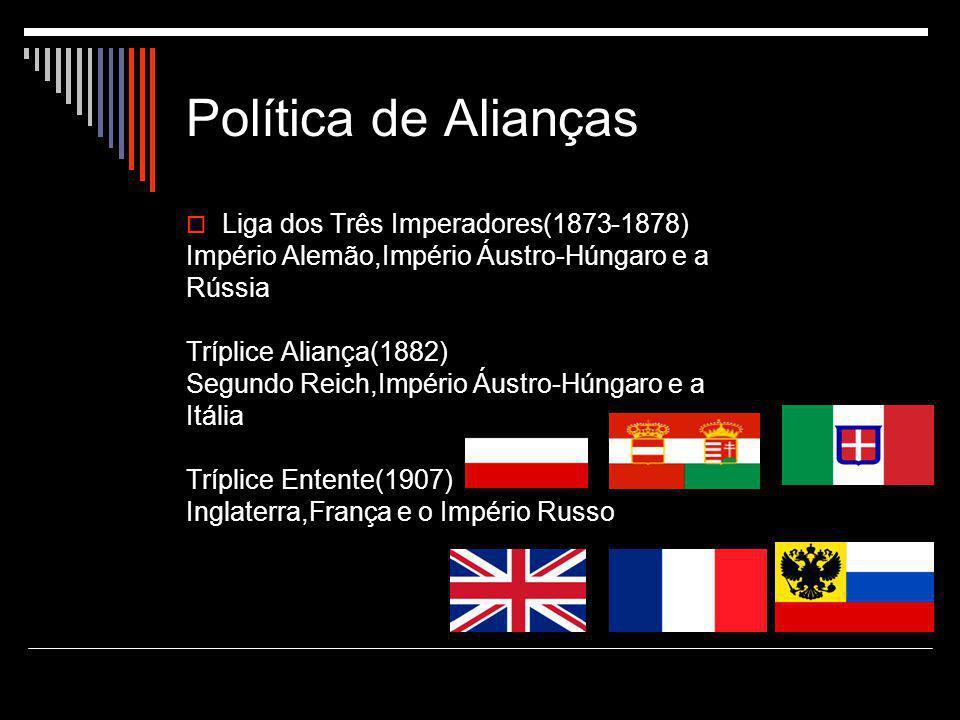 Política de Alianças  Liga dos Três Imperadores(1873-1878) Império Alemão,Império Áustro-Húngaro e a Rússia Tríplice Aliança(1882) Segundo Reich,Império Áustro-Húngaro e a Itália Tríplice Entente(1907) Inglaterra,França e o Império Russo