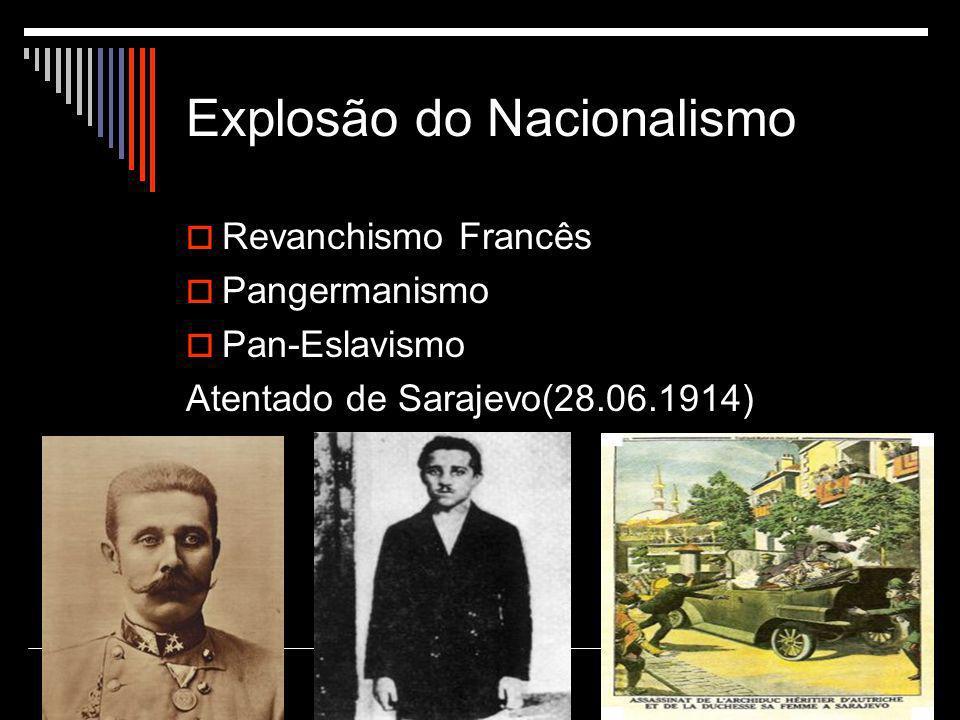 Explosão do Nacionalismo  Revanchismo Francês  Pangermanismo  Pan-Eslavismo Atentado de Sarajevo(28.06.1914)
