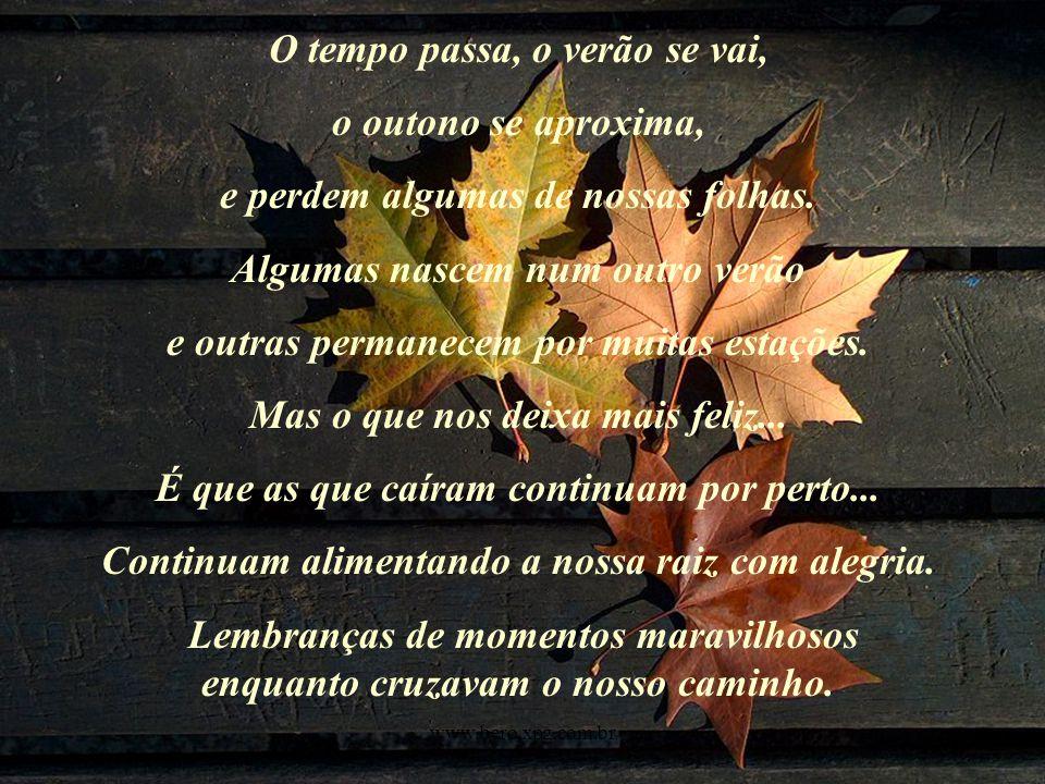 O tempo passa, o verão se vai, o outono se aproxima, e perdem algumas de nossas folhas.