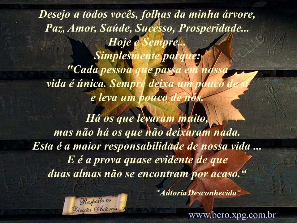 Desejo a todos vocês, folhas da minha árvore, Paz, Amor, Saúde, Sucesso, Prosperidade...