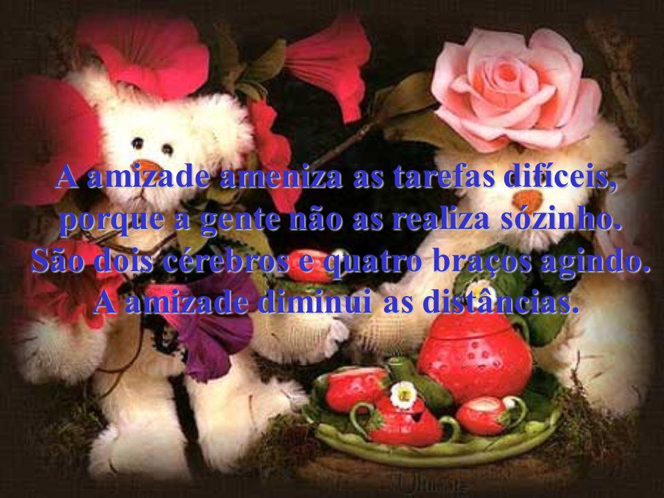 A amizade esvazia o sofrimento, porque a simples lembrança do amigo é lenitivo, com jeito de talco na ferida.