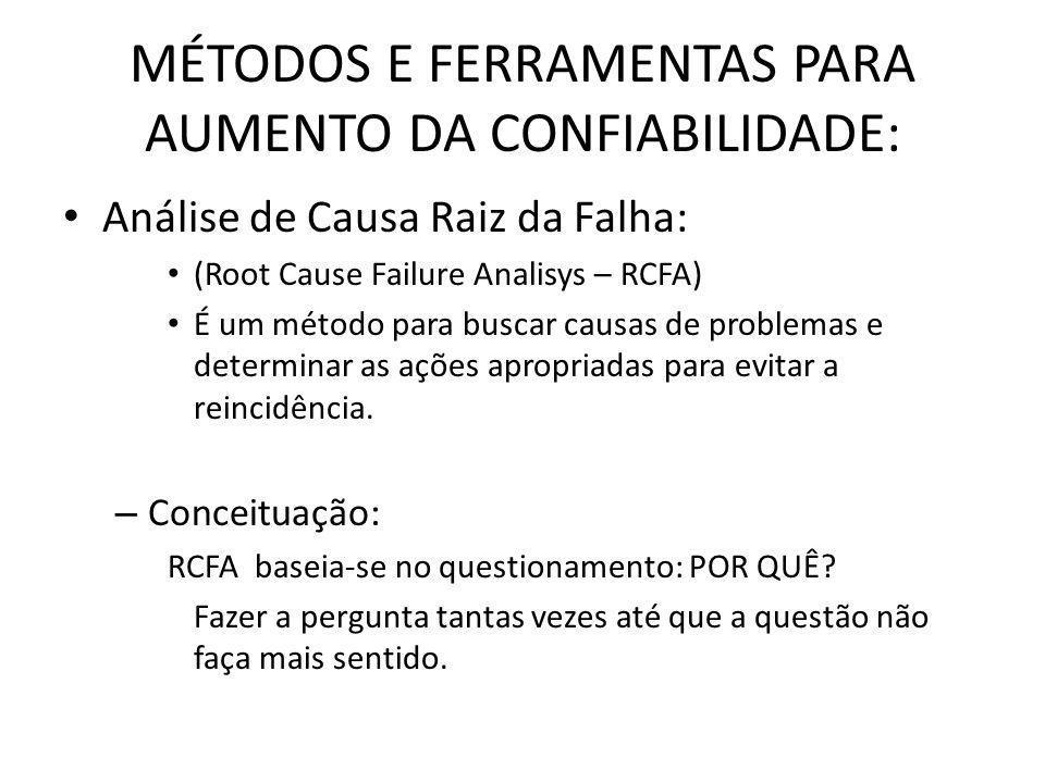 MÉTODOS E FERRAMENTAS PARA AUMENTO DA CONFIABILIDADE: Análise de Causa Raiz da Falha: (Root Cause Failure Analisys – RCFA) É um método para buscar cau