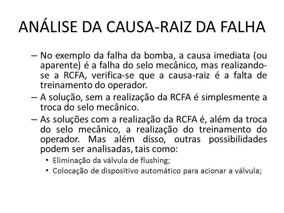 – No exemplo da falha da bomba, a causa imediata (ou aparente) é a falha do selo mecânico, mas realizando- se a RCFA, verifica-se que a causa-raiz é a