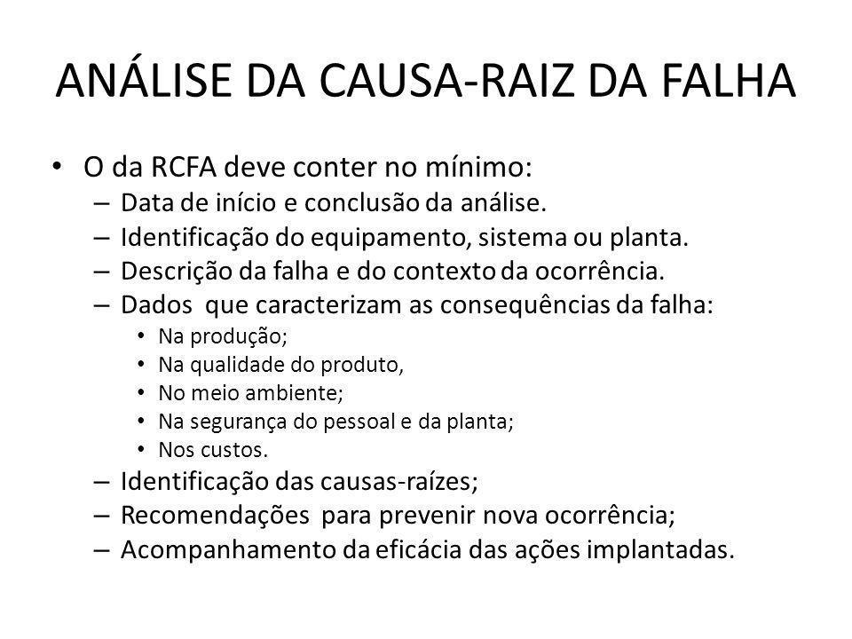 ANÁLISE DA CAUSA-RAIZ DA FALHA O da RCFA deve conter no mínimo: – Data de início e conclusão da análise. – Identificação do equipamento, sistema ou pl