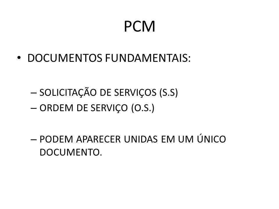 PCM DOCUMENTOS FUNDAMENTAIS: – SOLICITAÇÃO DE SERVIÇOS (S.S) – ORDEM DE SERVIÇO (O.S.) – PODEM APARECER UNIDAS EM UM ÚNICO DOCUMENTO.