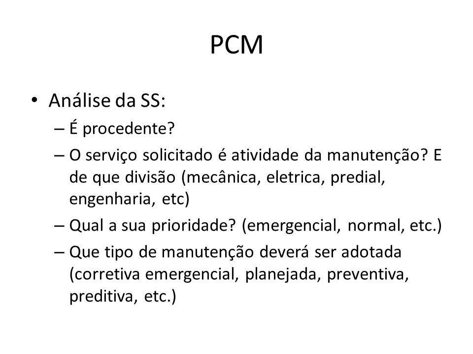 PCM Análise da SS: – É procedente.– O serviço solicitado é atividade da manutenção.