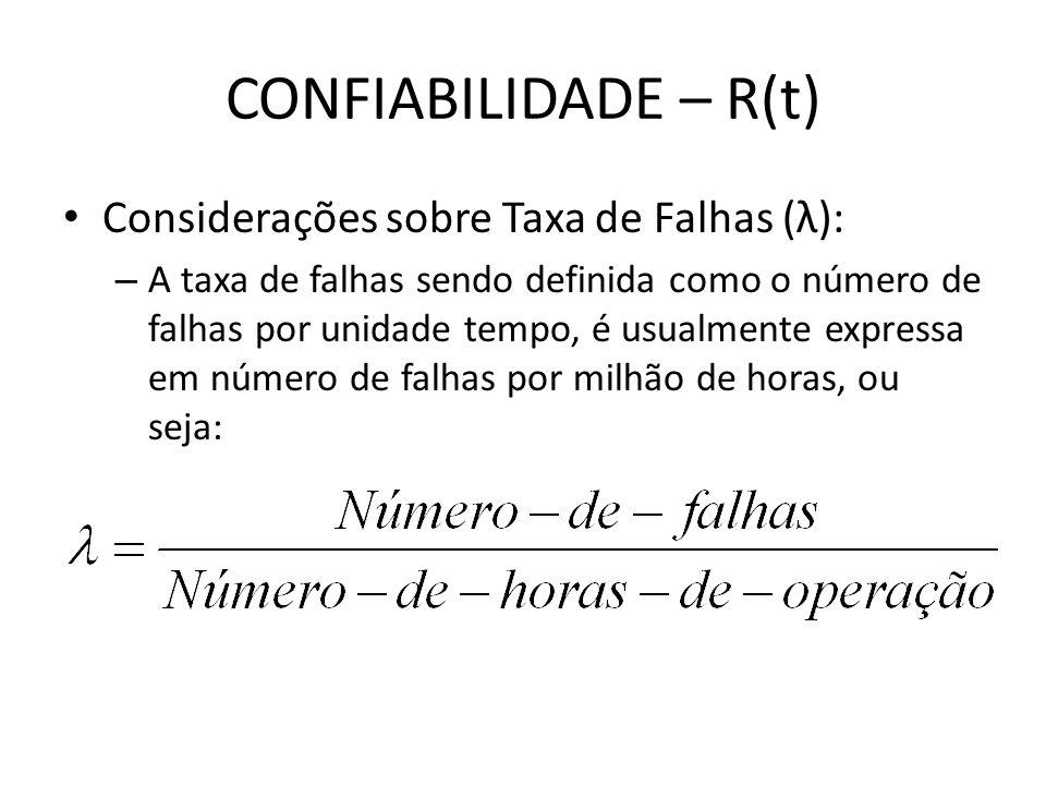 CONFIABILIDADE – R(t) Considerações sobre Taxa de Falhas (λ): – A taxa de falhas sendo definida como o número de falhas por unidade tempo, é usualment