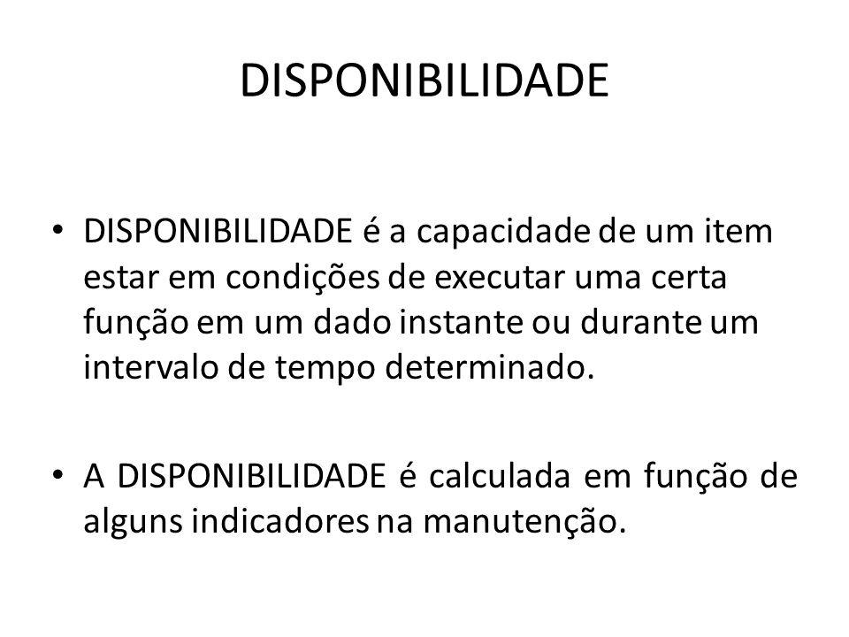 DISPONIBILIDADE DISPONIBILIDADE é a capacidade de um item estar em condições de executar uma certa função em um dado instante ou durante um intervalo