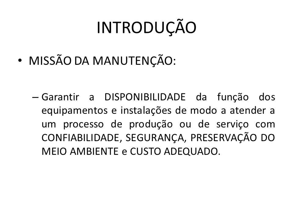 INTRODUÇÃO MISSÃO DA MANUTENÇÃO: – Garantir a DISPONIBILIDADE da função dos equipamentos e instalações de modo a atender a um processo de produção ou