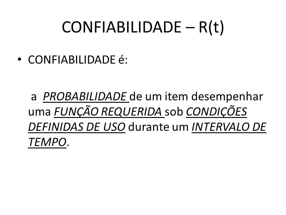 CONFIABILIDADE – R(t) PROBABILIDADE é a relação entre o número de casos favoráveis e o número de casos possíveis em um intervalo de tempo t; Por ser uma probabilidade, a confiabilidade é uma medida numérica que varia entre 0 ou 1 (ou 0 a 100 %)