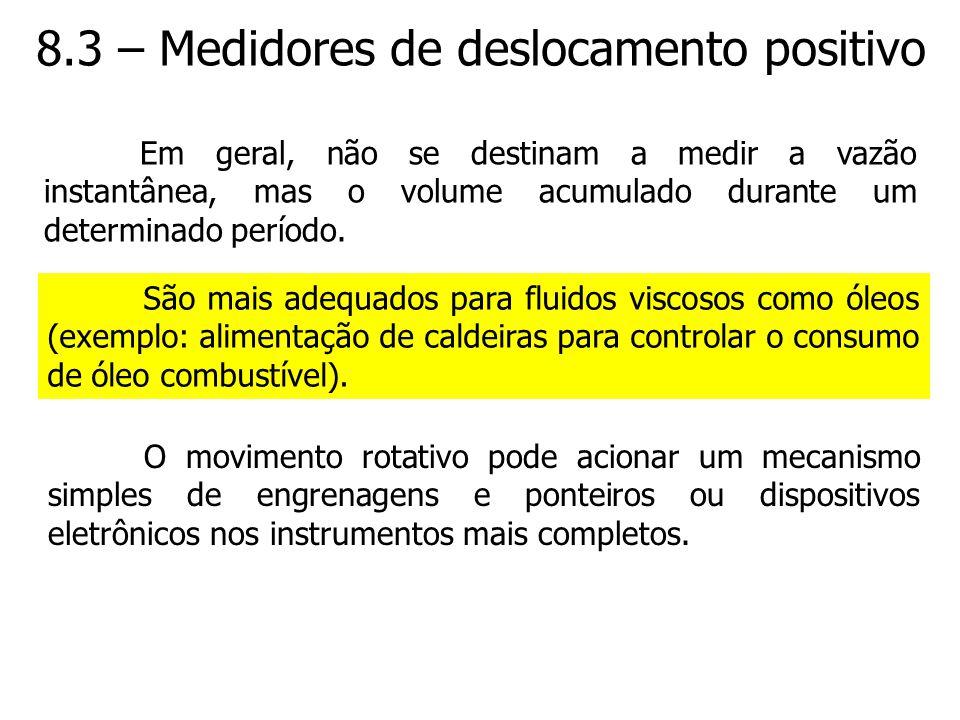 8.3 – Medidores de deslocamento positivo Em geral, não se destinam a medir a vazão instantânea, mas o volume acumulado durante um determinado período.