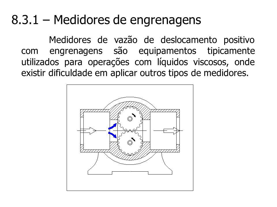 8.3.1 – Medidores de engrenagens Medidores de vazão de deslocamento positivo com engrenagens são equipamentos tipicamente utilizados para operações co