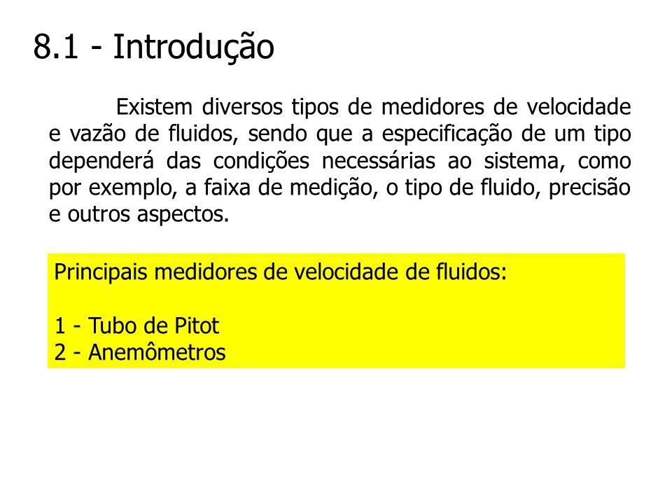 8.1 - Introdução Existem diversos tipos de medidores de velocidade e vazão de fluidos, sendo que a especificação de um tipo dependerá das condições ne