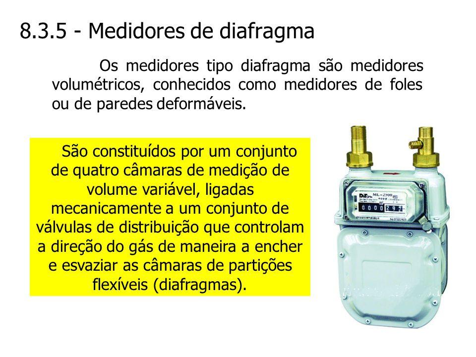 8.3.5 - Medidores de diafragma São constituídos por um conjunto de quatro câmaras de medição de volume variável, ligadas mecanicamente a um conjunto d