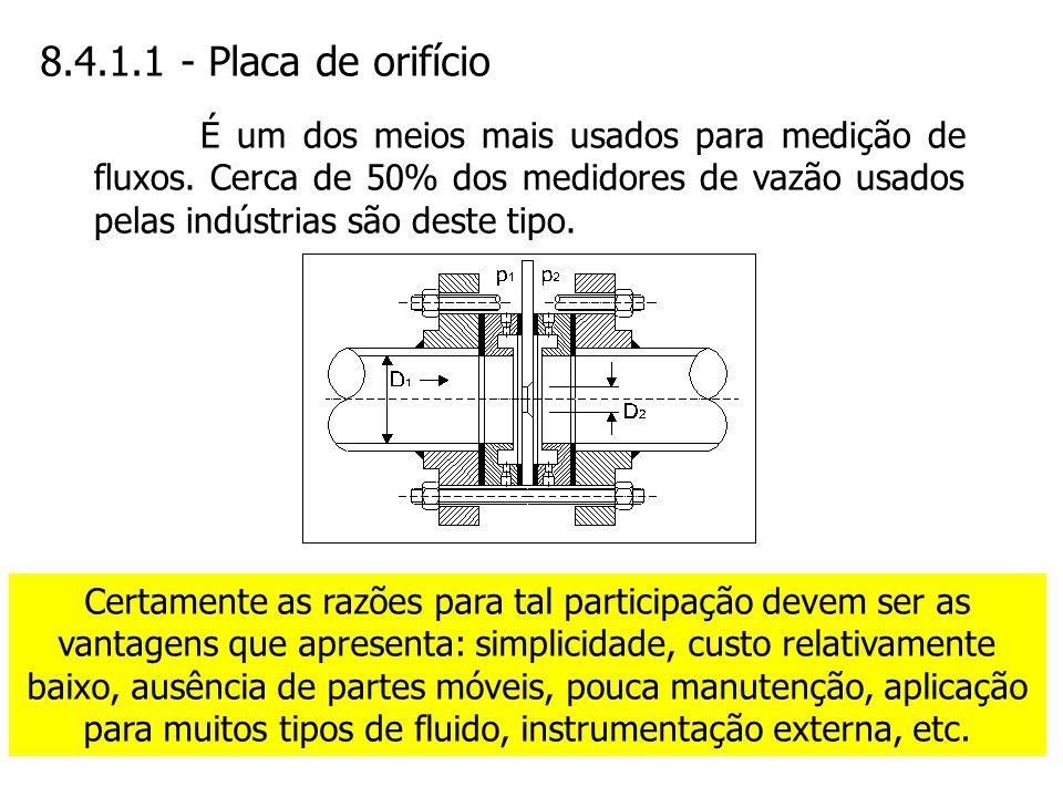 8.4.1.1 - Placa de orifício É um dos meios mais usados para medição de fluxos. Cerca de 50% dos medidores de vazão usados pelas indústrias são deste t