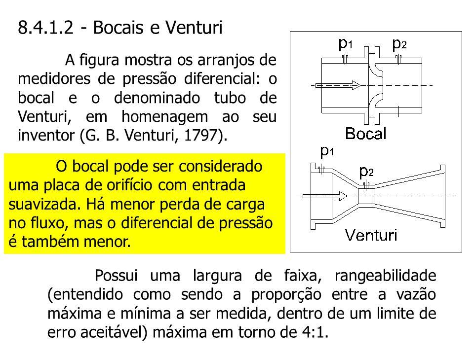 8.4.1.2 - Bocais e Venturi Possui uma largura de faixa, rangeabilidade (entendido como sendo a proporção entre a vazão máxima e mínima a ser medida, d