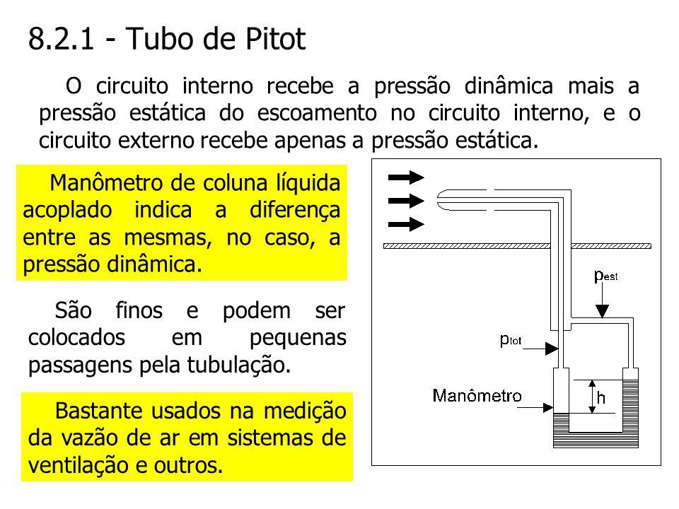 8.2.1 - Tubo de Pitot O circuito interno recebe a pressão dinâmica mais a pressão estática do escoamento no circuito interno, e o circuito externo rec