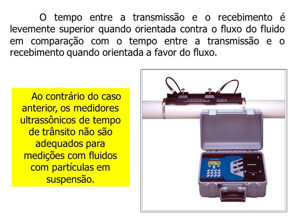 Ao contrário do caso anterior, os medidores ultrassônicos de tempo de trânsito não são adequados para medições com fluidos com partículas em suspensão