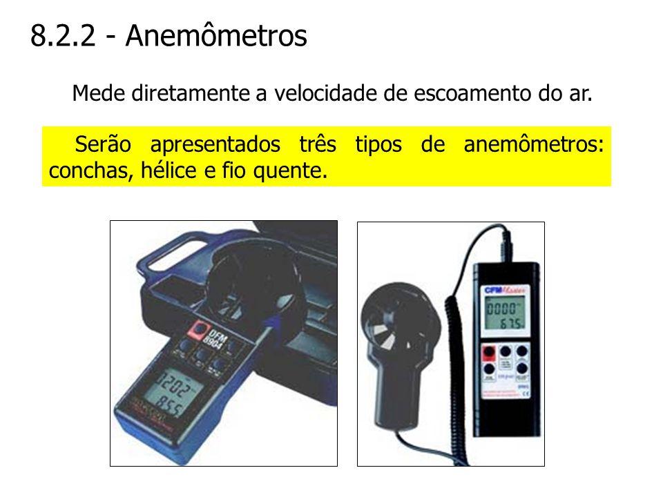 8.2.2 - Anemômetros Serão apresentados três tipos de anemômetros: conchas, hélice e fio quente. Mede diretamente a velocidade de escoamento do ar.