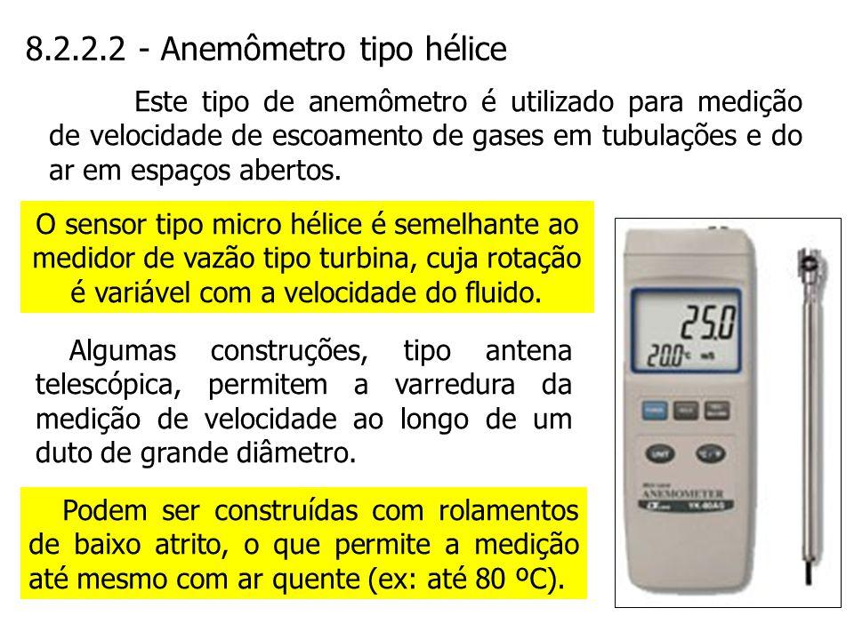 8.2.2.2 - Anemômetro tipo hélice O sensor tipo micro hélice é semelhante ao medidor de vazão tipo turbina, cuja rotação é variável com a velocidade do
