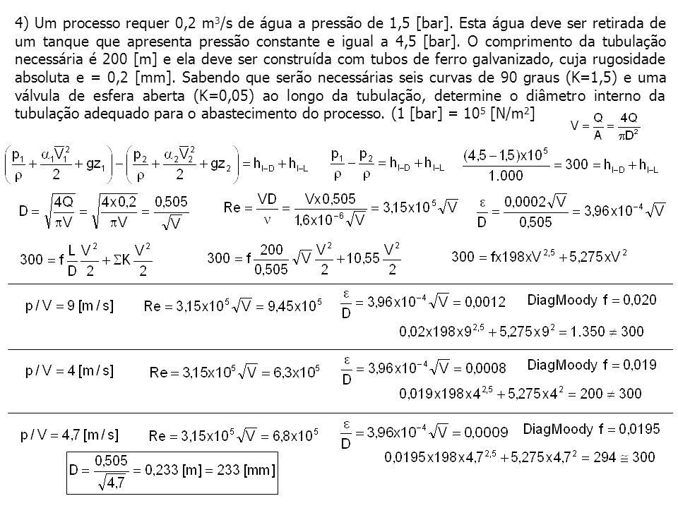 4) Um processo requer 0,2 m 3 /s de água a pressão de 1,5 [bar].