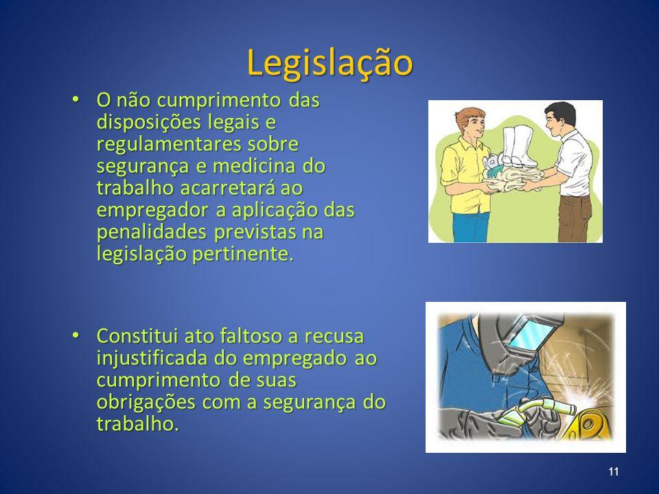 Legislação O não cumprimento das disposições legais e regulamentares sobre segurança e medicina do trabalho acarretará ao empregador a aplicação das p