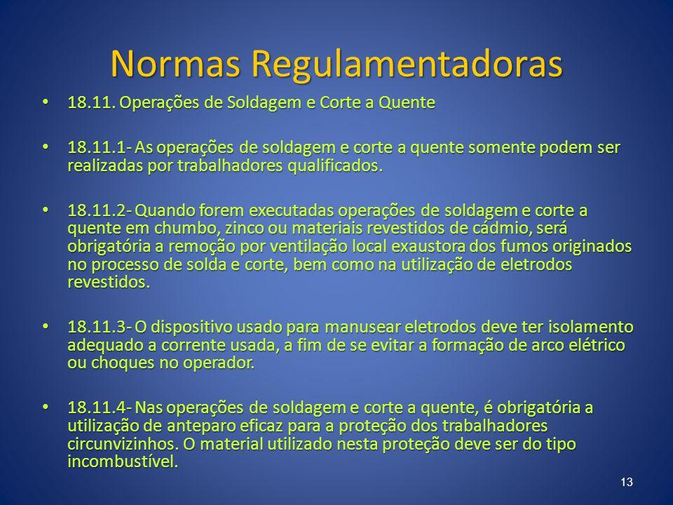 Normas Regulamentadoras 18.11. Operações de Soldagem e Corte a Quente 18.11. Operações de Soldagem e Corte a Quente 18.11.1- As operações de soldagem