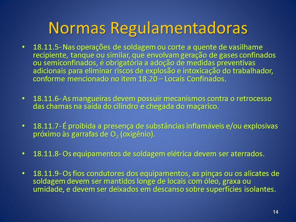 Normas Regulamentadoras 18.11.5- Nas operações de soldagem ou corte a quente de vasilhame recipiente, tanque ou similar, que envolvam geração de gases