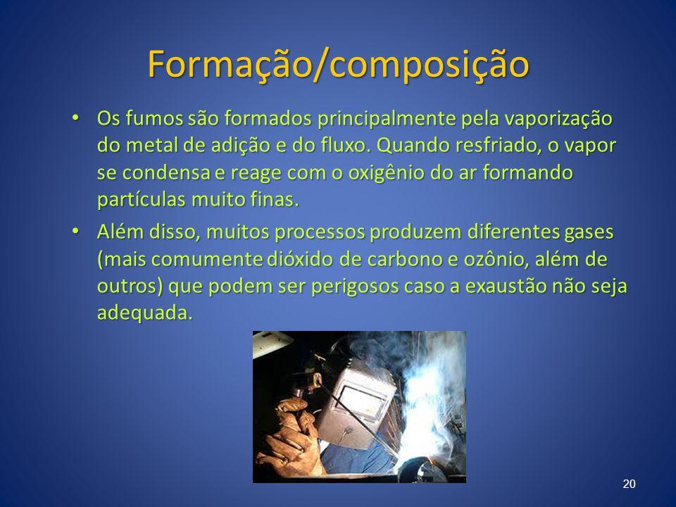 Formação/composição Os fumos são formados principalmente pela vaporização do metal de adição e do fluxo. Quando resfriado, o vapor se condensa e reage