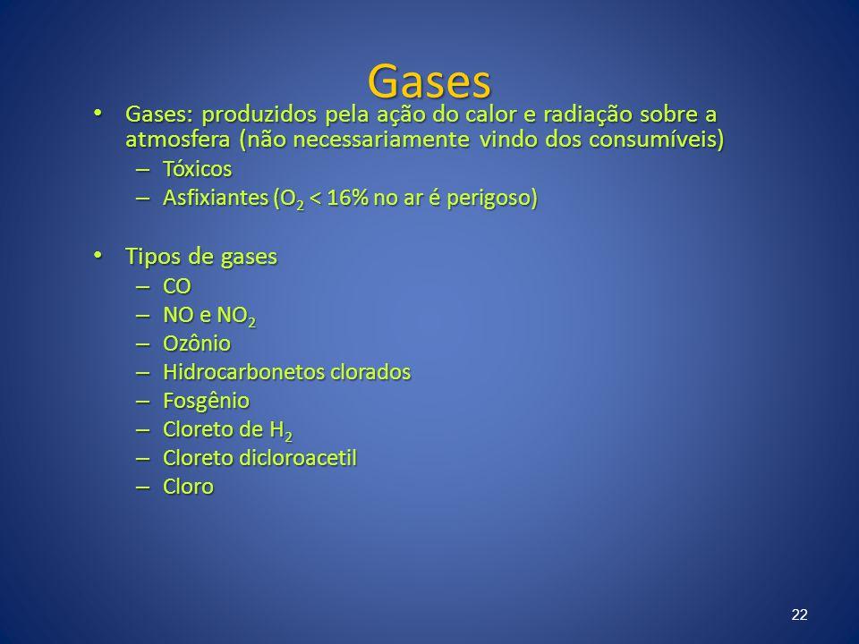 Gases Gases: produzidos pela ação do calor e radiação sobre a atmosfera (não necessariamente vindo dos consumíveis) Gases: produzidos pela ação do cal