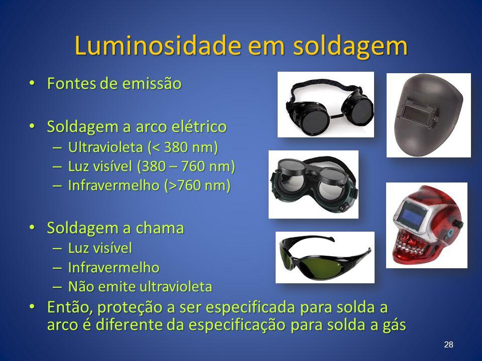 Luminosidade em soldagem Fontes de emissão Fontes de emissão Soldagem a arco elétrico Soldagem a arco elétrico – Ultravioleta (< 380 nm) – Luz visível