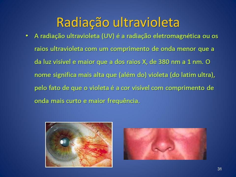 Radiação ultravioleta A radiação ultravioleta (UV) é a radiação eletromagnética ou os raios ultravioleta com um comprimento de onda menor que a da luz