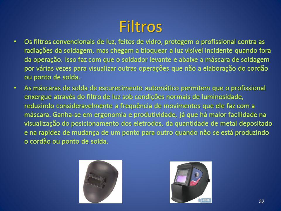 Filtros Os filtros convencionais de luz, feitos de vidro, protegem o profissional contra as radiações da soldagem, mas chegam a bloquear a luz visível