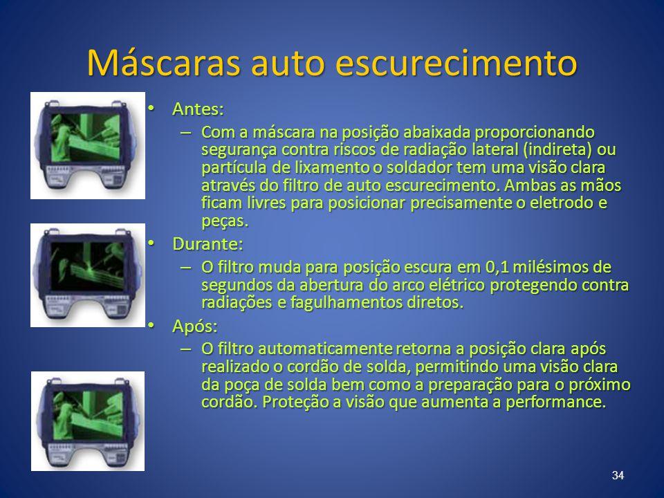 Máscaras auto escurecimento Antes: Antes: – Com a máscara na posição abaixada proporcionando segurança contra riscos de radiação lateral (indireta) ou